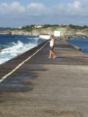 D3. Julia walking along the socoa breakwater 12.7.17.