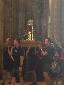 A8. Pilgrims in Cathedral Santiago de Complostela 28.7.17.