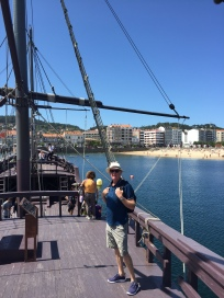 C2. Ian aboard the Pinta, Baiona 9.8.17.
