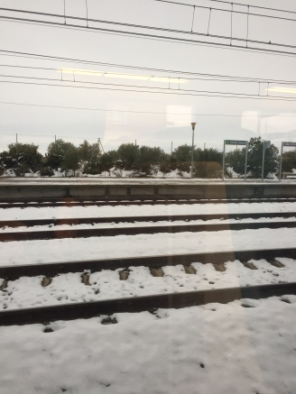 A1. Snow on journey to Madrid - 6.2.18.