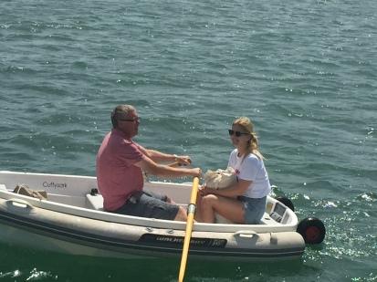 6. Ian taking Jessica ashore, Mar Menor 21.4.18.