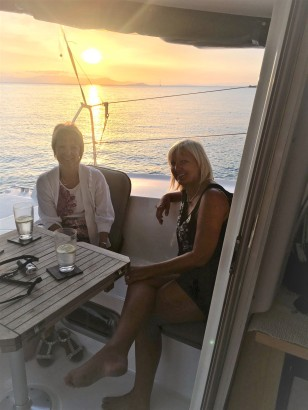 Lesley and Lorraine enjoying a sundowner
